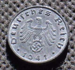 Coin Nazi Germany 5 Reichspfennig 1941 B Vienna Swastika World War Ii photo