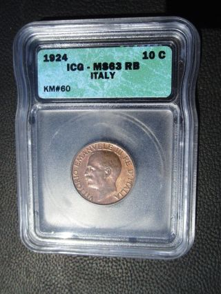 1924 Italy 10 Centesimi,  Icg Ms 63 Rb photo