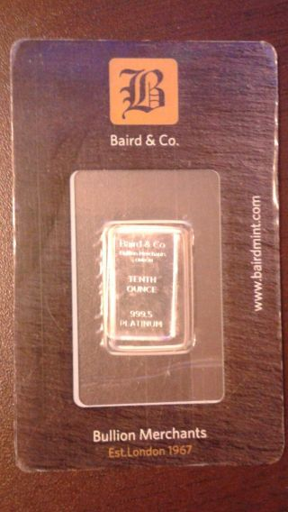 Baird & Co.  Tenth Oz 999.  5 Platinum Ingot London Save photo
