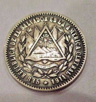 El Salvador Ef 10 Centavos 1914 Silver Coin 2.  48 Gr 835 Silver photo