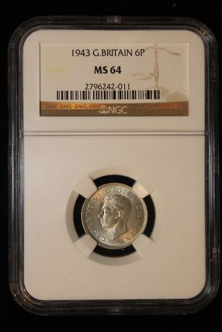 1943 Great Britain.  6 Pence.  Ngc Graded Ms - 64. photo