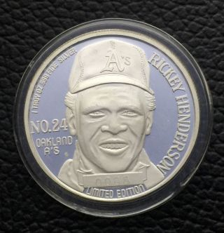 Limited Edition Ricky Henderson Oakland A ' S 1 Troy Oz.  999 Silver Coin (r11) photo