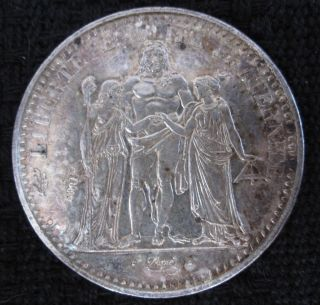1965 France Authentic Large 10 Francs Silver Coin Hercules & Nymphs photo