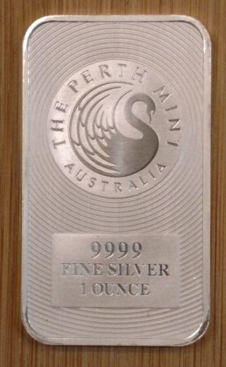 Perth Kangaroo Minted 1 Oz.  9999 Silver Bar photo