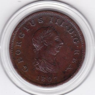 Sharp 1807 King George Iii Half Penny (1/2d) Copper Coin photo