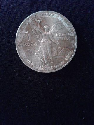 1982 Mexican Silver Libertad 1 Onza Pura Plata With Edge Lettering Bbi 1472 photo
