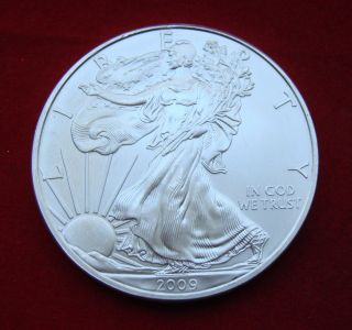 2009 Silver Dollar Coin 1 Troy Oz American Eagle Walking Liberty.  999 Fine photo