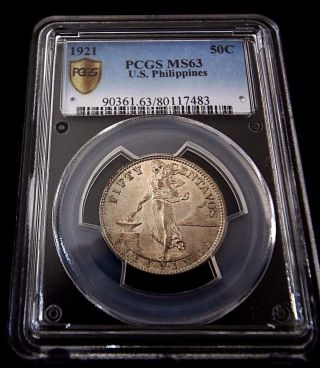 1921 Ms63 Us Philippines Fifty Centavos photo