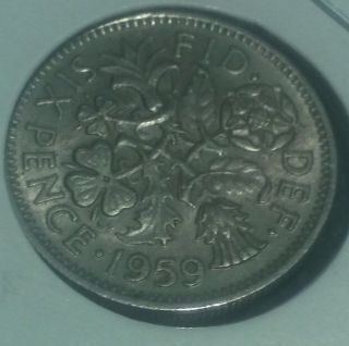 Uk (great Britain) 1959 Six Pence (wedding Coin Good Luck) photo