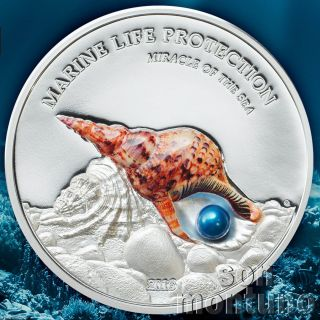 2016 Palau Miracle Of The Sea Marine Life Protection 1 Oz Silver Coin Real Pearl photo