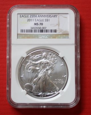 - 2011 Silver American Eagle (ngc Ms70) 25th Anniversary photo