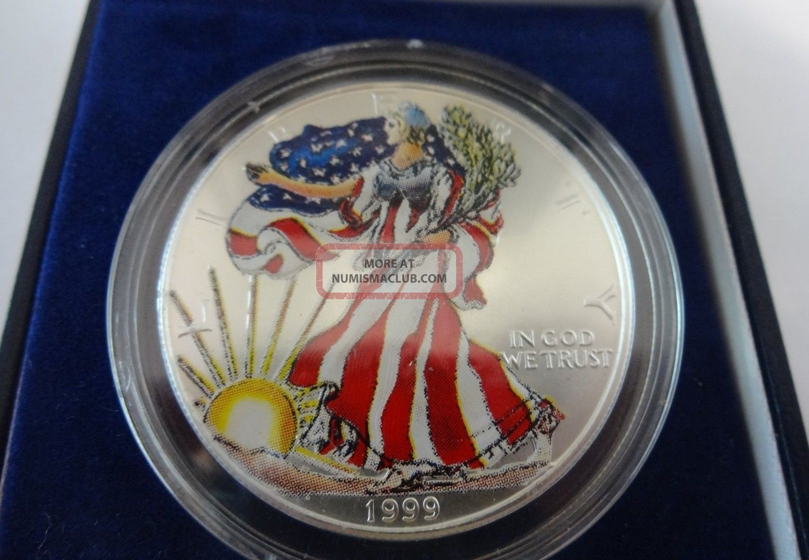 1999 Painted American Eagle 999 Fine Silver Dollar 1 Troy
