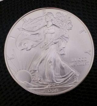 2008 - W (burnished) Silver American Eagle.  Brilliant Uncirculated photo
