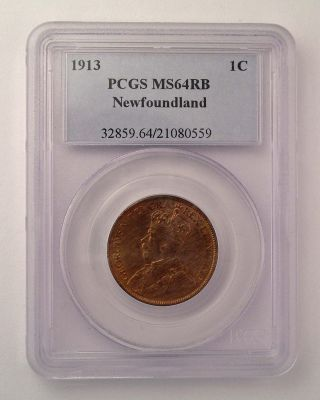 1813 Newfoundland Canada 1 Cent Pcgs Ms 64 Rb Red Km - 16 Coin photo