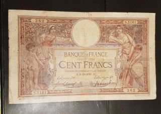 Banque De France 100 Francs A.  8=10=1918 A Rare Signature Vf,  Xf photo