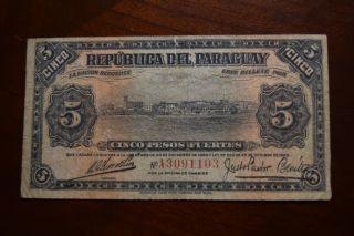 Paraguay 5 Pesos Banknote,  1923 Cat 163 photo