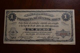 Argentina S - 615 Banco Hipoticario Dela Prov De Buenos Aires 1 Peso 1891 photo