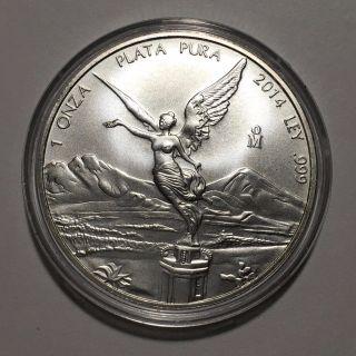 2014 Mexico 1 Troy Oz.  999 Fine Silver Libertad Onza Coin In Capsule photo