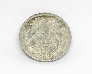 1918 Mexico 50 Centavos Estados Unidos Mexicanos 80 Silver Medal Key Date Large photo