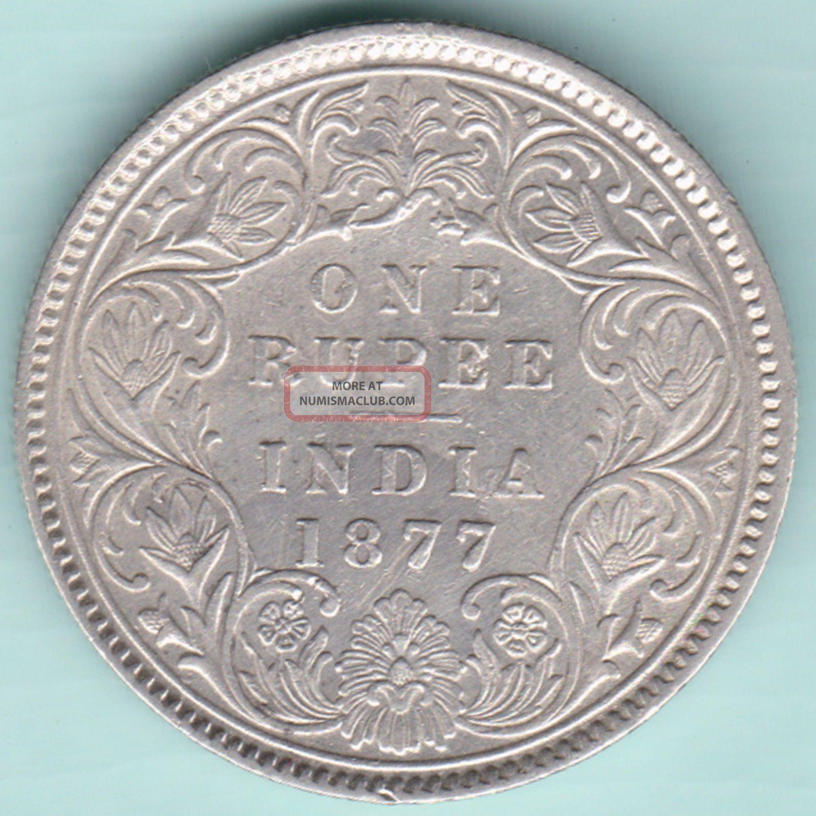 British India - 1877 - Victoria Empress - Calcutta - One Rupee - Rare Coin British photo