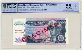 Banque Du Zaire Zaire 20000 Zaires 1991 Specimen Pcgs 55opq photo