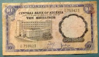 Nigeria 10 Shillings Rare Note,  P 11 A,  Issued 1968 photo