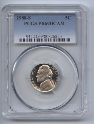 1988 - S Jefferson Nickel Pr69dcam Pcgs Proof 69 Deep Cameo photo