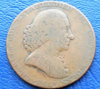 1790 Great Britain 1/2 Penny Token Charles Roe Copper Conder Vulcan R photo
