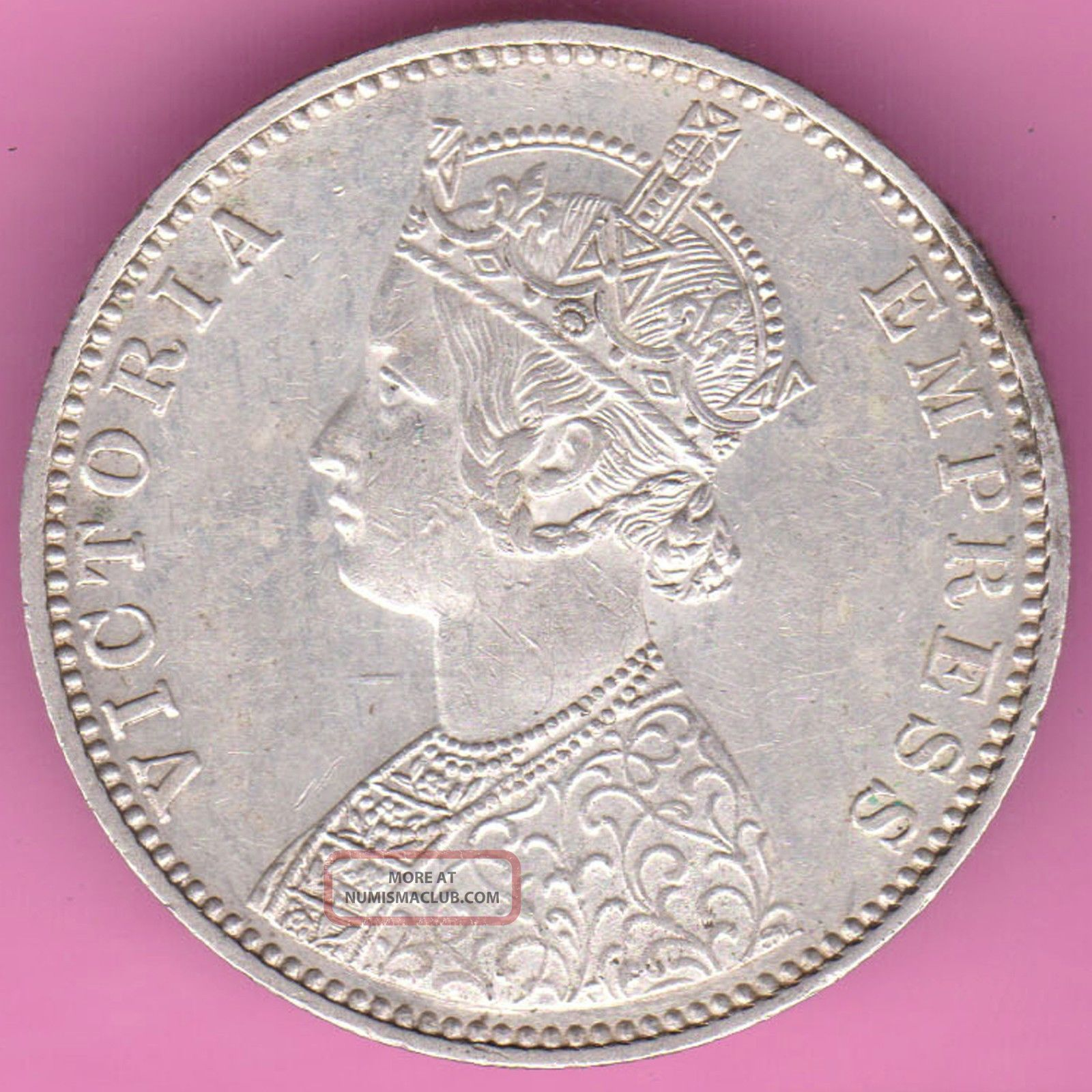 British India - 1901 - Victoria Queen - One Rupee - Rarest Silver Coin - 15 India photo