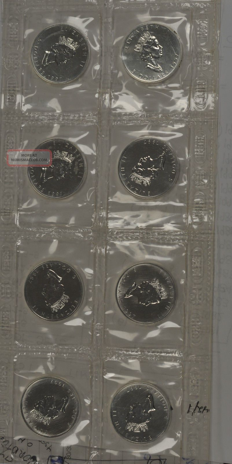 1997 Canada Silver Maple Leaf.  9999 In Packaging - Strip Of 4 Coins: Canada photo