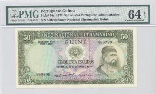 1971 Portuguese Guinea Portuguese Admin 50 Escudos Pmg 64 Epq Choice Unc P : 44a photo