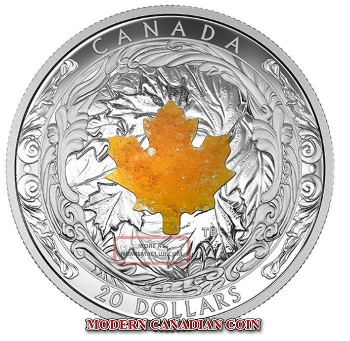 Canada 2016 $20 1 Oz Fine Silver Coin - Majestic Maple Leaves With Drusy Stone Coins: Canada photo