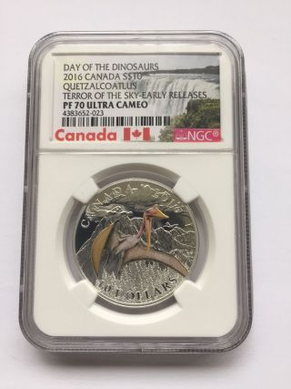2016 - Canada $10 Quetzalcoatlus - Terror Of The Sky - Pr70 Er photo