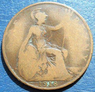1918 H Great Britain Penny Km 810 George V Heaton Birmingham Circ Wb 2 photo