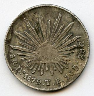 Mexico 1879 - Do - Tb 8 Reales Durango Toned Choice Xf. photo