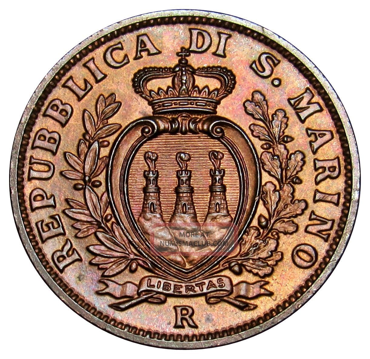 San Marino 10 Centesimi Coin 1938 Km 13 Au Ve01 (a3) San Marino photo