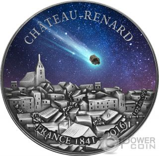 Chateau Renard French Meteorite Silver Coin 1000 Francs Burkina Faso 2016 photo