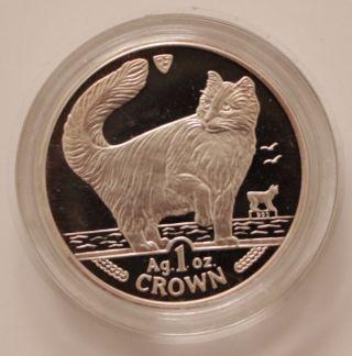 Isle Of Man 1991 Norwegian Cat Crown 1oz Silver Coin - Elizabeth Ii (in Case) photo