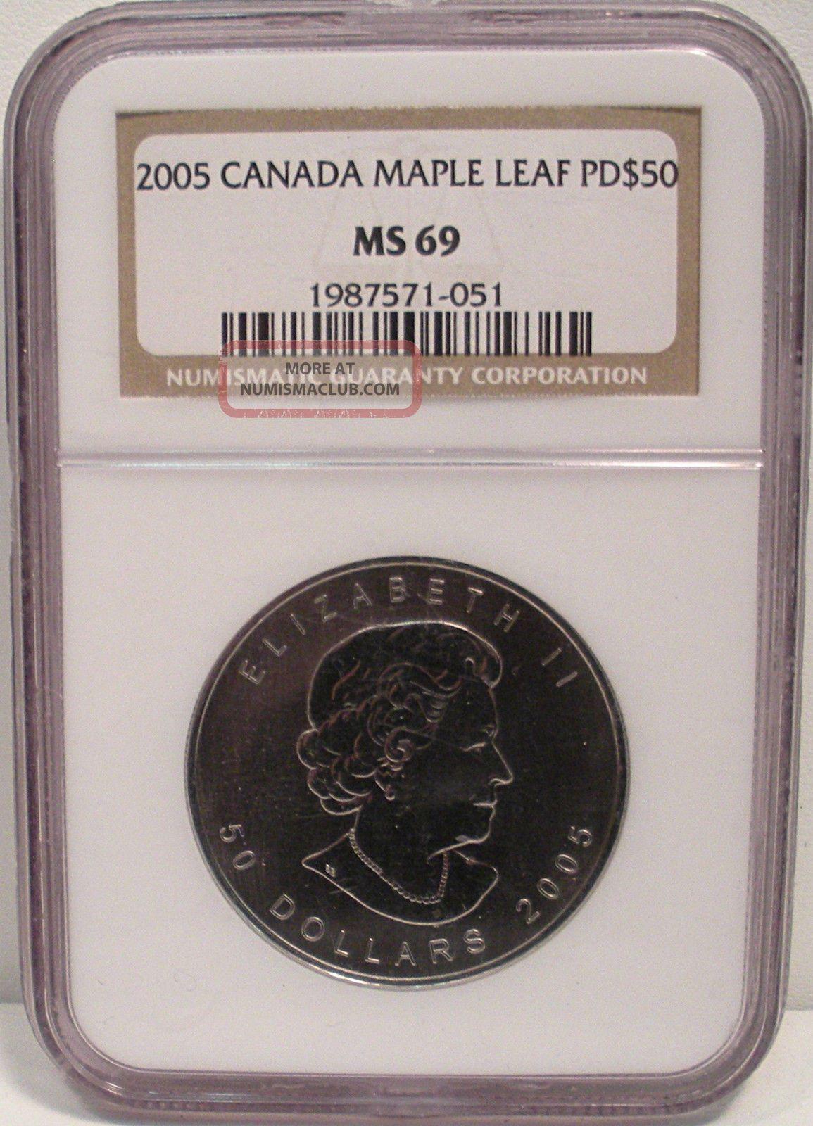 2005 1oz Palladium Canadian $50 Maple Leaf Ngc Ms69 Coin From Canada Bullion photo