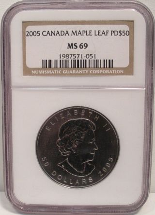2005 1oz Palladium Canadian $50 Maple Leaf Ngc Ms69 Coin From Canada photo