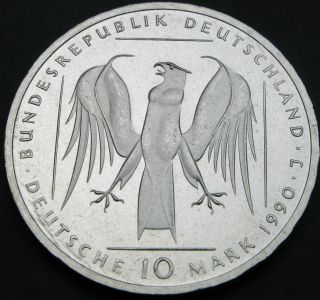 Germany 10 Mark 1990 J Proof Or Prooflike - Silver - The Teutonic Order photo