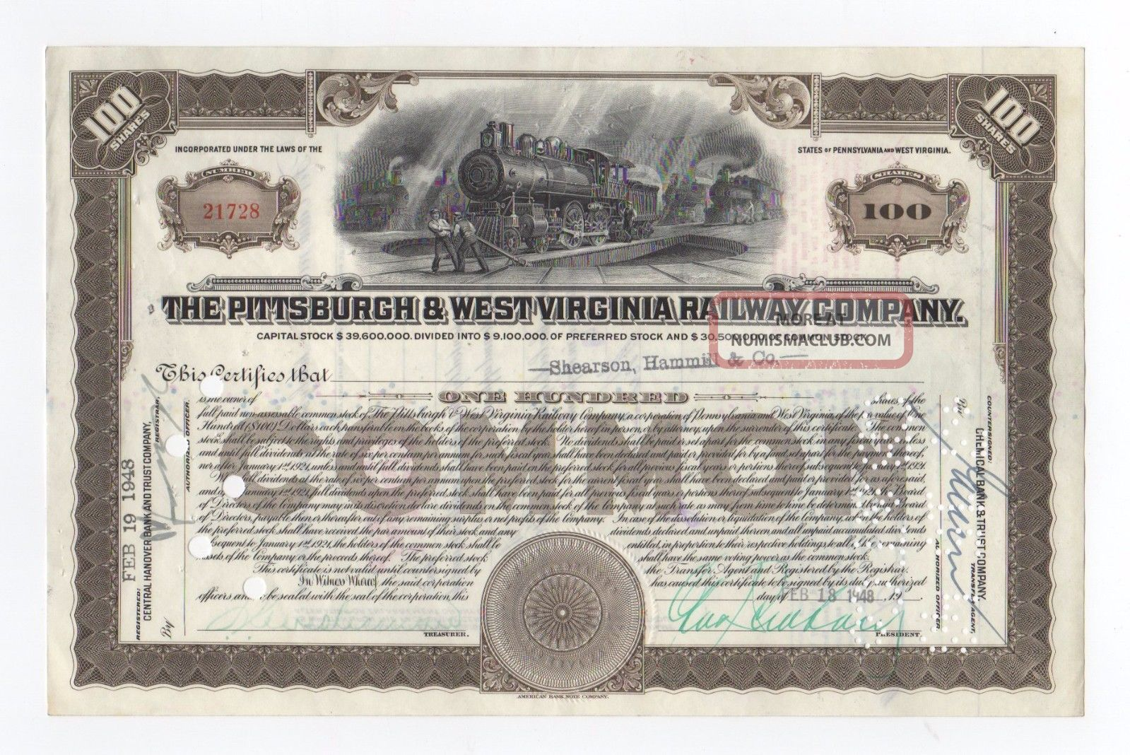 Pittsburgh & West Virginia Railway Company Stock Certificate Transportation photo