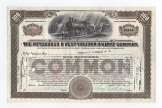 Pittsburgh & West Virginia Railway Company Stock Certificate photo