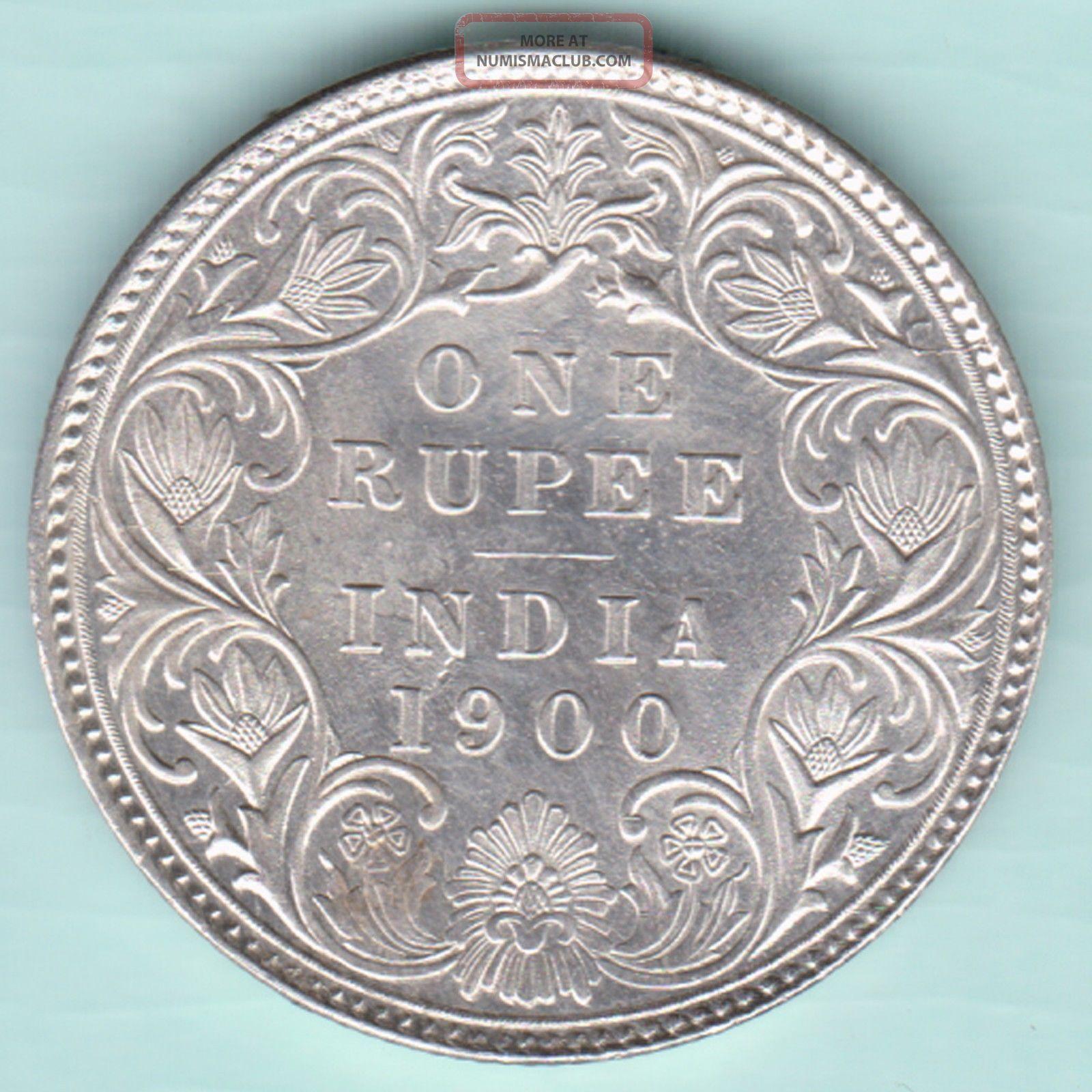 British India - 1900 - Victoria Empress - One Rupee - Rarest Silver Coin India photo