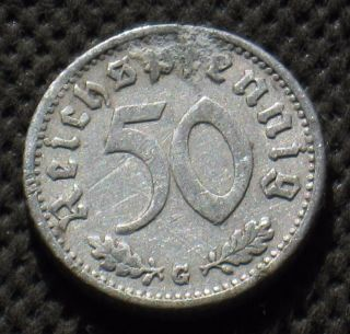 Rare Old Coin Of Nazi Germany 50 Reichspfennig 1935 G Karlsruhe (third Reich) photo