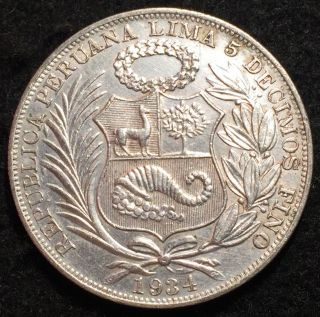 Condiiton Peru 1934 Un Sol Silver Crown: A Coin photo
