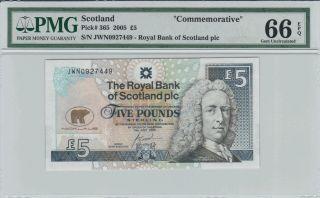 Scotland 5 Pounds Commemorative Banknote 2005 Pmg 66 Epq Gem Uncirculated photo