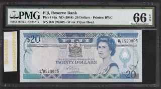 [bl] Fiji,  Nd 1988,  20 Dollars,  P88a,  Pmg 66 Epq,  Gem Unc photo