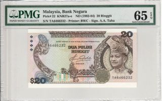 Malaysia 20 Ringgit Rm20 (1982) P22 First Prefix Ta6466232 Banknote Pmg 65 Epq photo