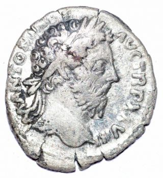 Authentic Marcus Aurelius - Roman,  Ar Silver Denarius - Rv.  Winged Victory - A467 photo